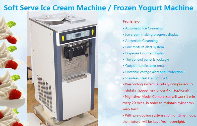 High Capacity Commercial Soft Serve Ice Cream Freezer With Standby System