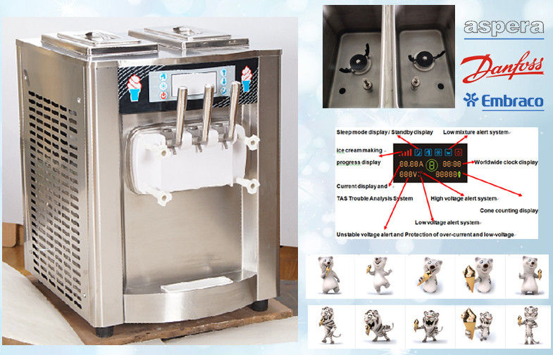 Counter Top Stainless Steel Soft Serve Freezer / 3 Flavor Automatic Ice Cream Machine