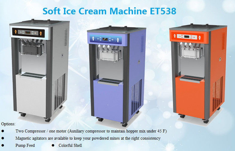 High Capacity Soft Serve Freezer Floor Standing For Twist Ice Cream