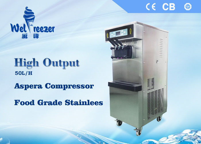 High Output Commercial Soft Ice Cream Machine with Food Grade Stainless Steel Materials