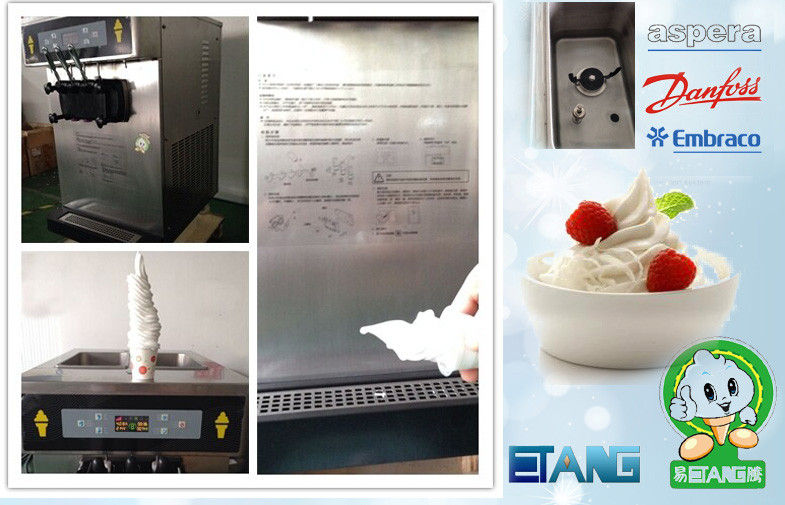 Stainless Steel Soft Ice Cream Vending Machine Counterop For Cafe