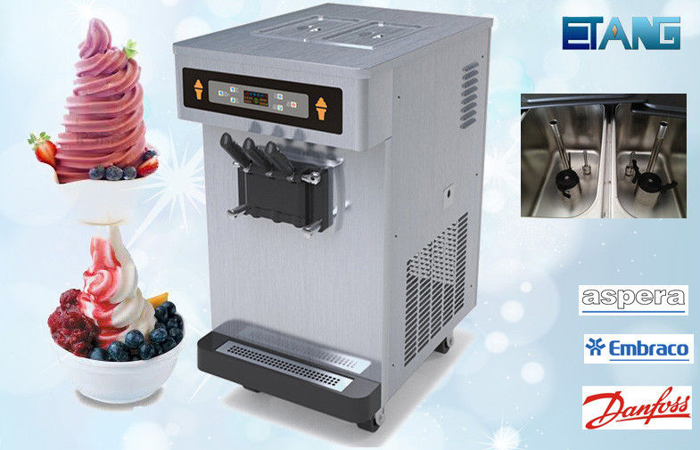 Table Top Soft Serve Ice Cream Maker 3 Flavor 35 Liters Per Hour, Pre-Cooling Counter Top Ice Cream M