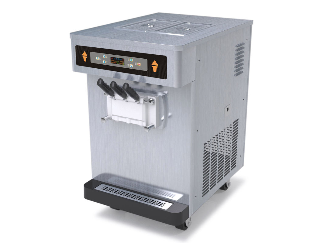 Table Top Automatic Ice Cream Machine / Equipment, 3 Flavor Soft Serve Frozen Yogurt Maker With 35 Liters / Hour