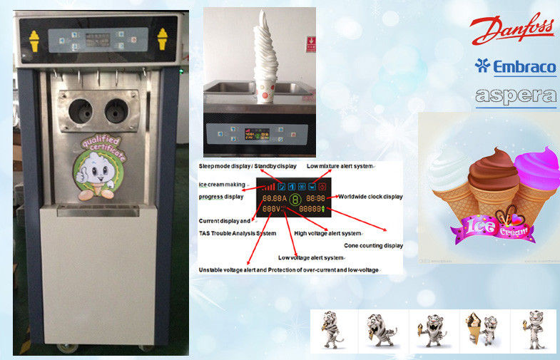 Mix-low Function Automatic Ice Cream Machine , Self Closing Handles