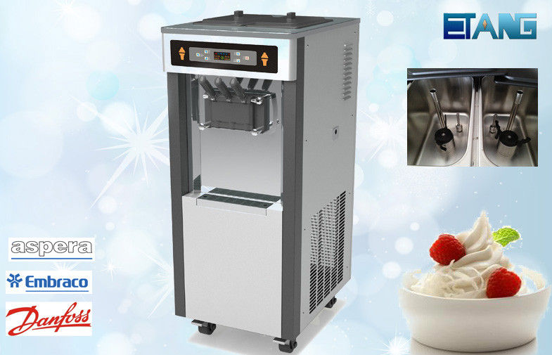 LED Display Ice Cream Making Machine , Twin Twist Flavor
