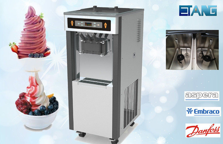 Floor Standing Commercial Ice Cream Maker, 3 Flavors 38 Liter Per Hour
