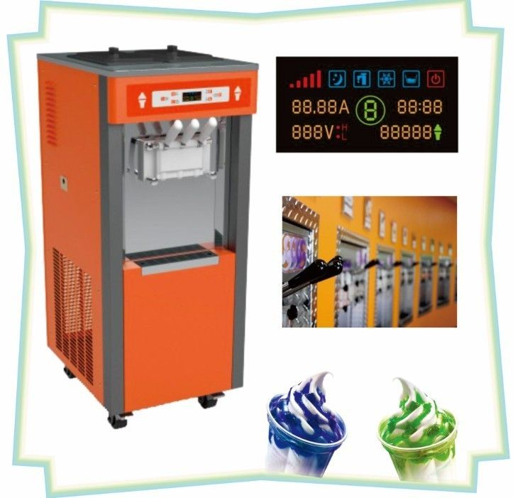Colorful LED Display Frozen Yogurt Machines With 3 Flavors , Garvity Feed