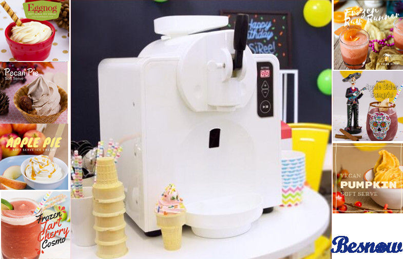 300 W Power Home Frozen Yogurt Machine For Ice Cream / Beer Slush , White Plastic Shell