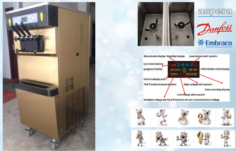 Single Flavour Automatic Frozen Yogurt Machines With 68L/H Capacity , 2P Horse Power