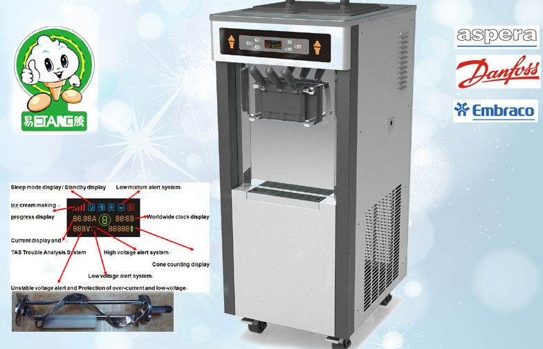 Gravity Feed Low Noisy Soft Serve Ice Cream Machines , New Control System