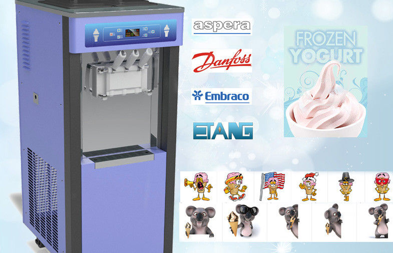 Pre-Cooling System Soft Serve Ice Cream Machines , Auto Cleaning System