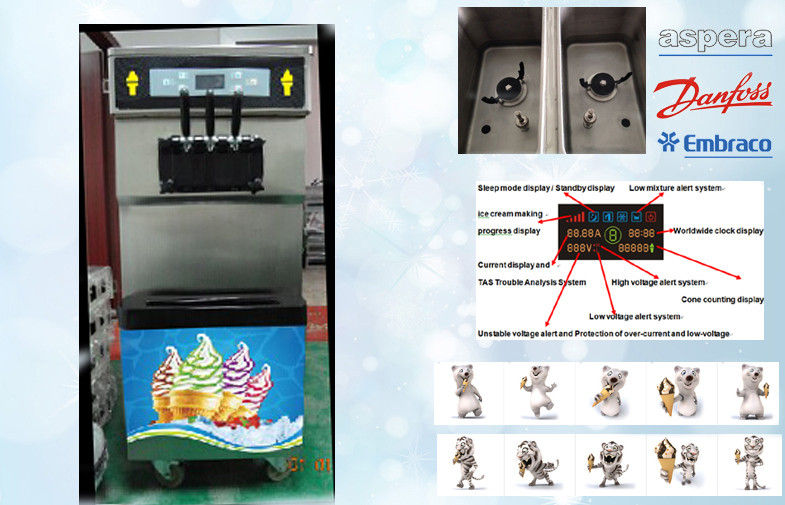 3 Flavors Similar Taylor Soft Serve Ice Cream Machines , Floor Stand