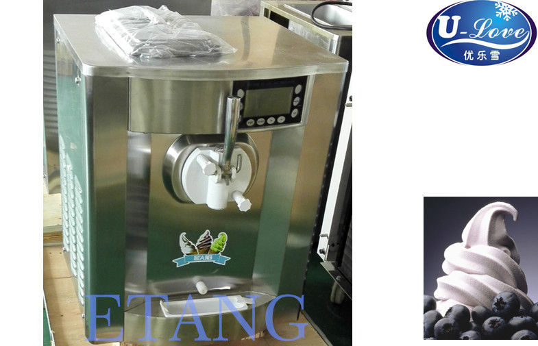 Small Table Top Soft Ice Cream Machines Stainless Steel Shell