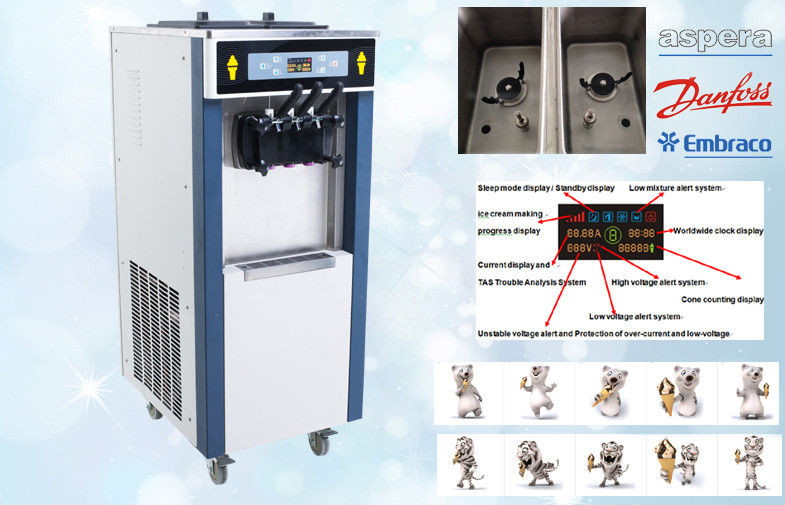 Stand Model Yogurt Ice Cream Machine , 38-55 Liters / Hour , 3 Phase Powerful, Lower Noisy and Bigger Output