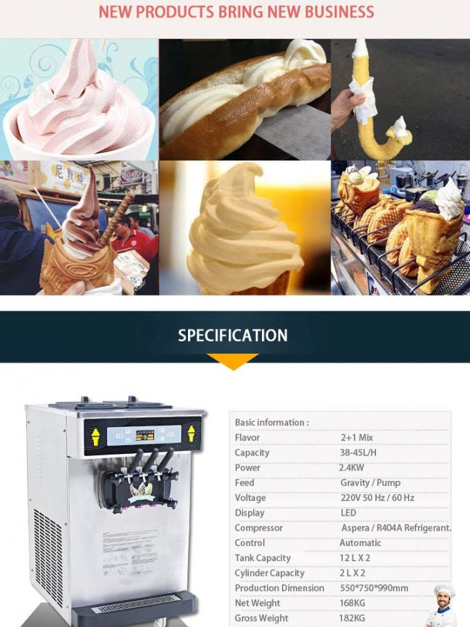 Touch Screen Air Pump Counter Top Puffing Ice Cream Making Machine, Super Low Noisy, High Output, Smart Control System